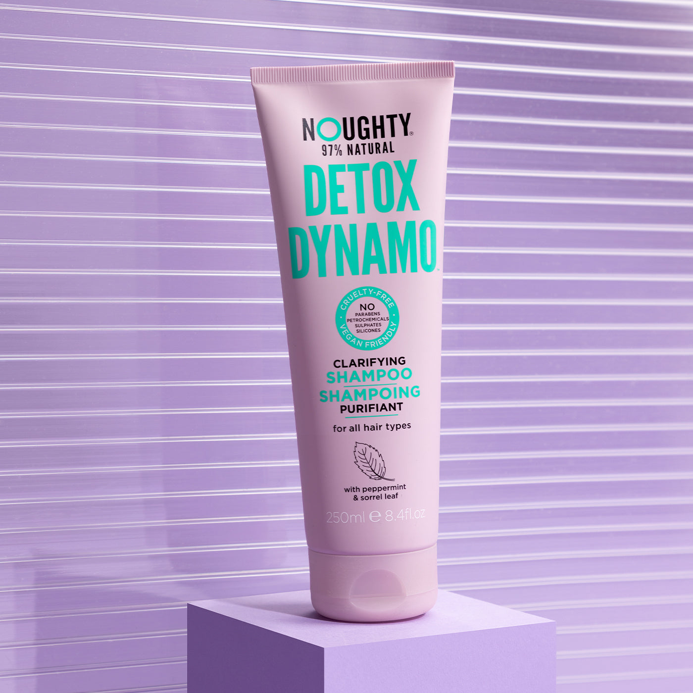Noughty Detox Dynamo purifying clarifying shampoo for all hair types with build up needing a deep clean. Natural haircare vegan cruelty free natural sulphate free paraben free