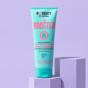 Noughty The Booster skin firming moisturizer for dull, challenged and cellulite prone skin. Natural haircare vegan cruelty free natural sulphate free paraben free