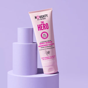 Noughty The Hero hydrating cream body scrub for dry, parched and dehydrated skin. Natural body care vegan cruelty free natural sulfate free paraben free