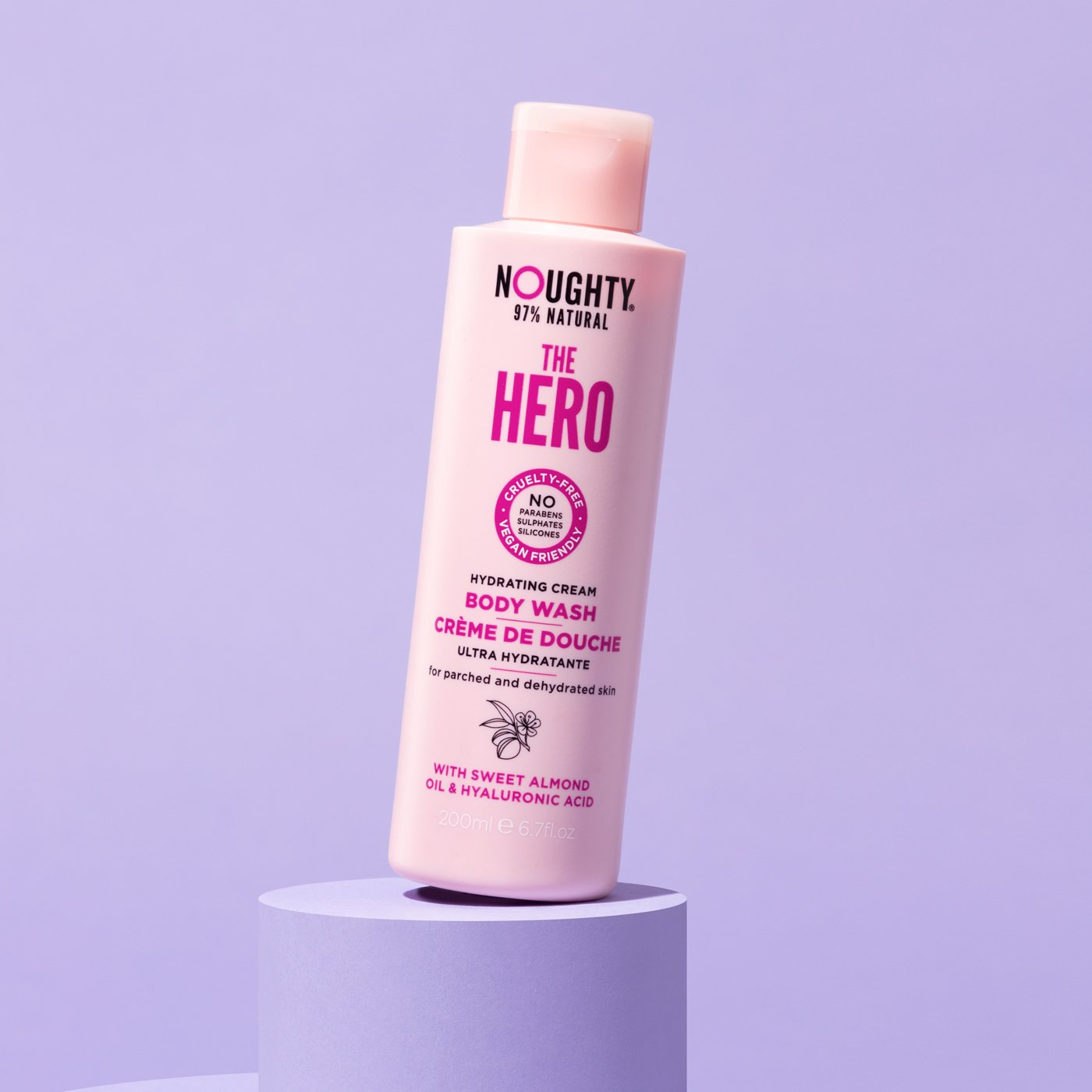 Noughty The Hero hydrating cream body wash for parched and dehydrated skin. Natural body care vegan cruelty free natural sulfate free paraben free
