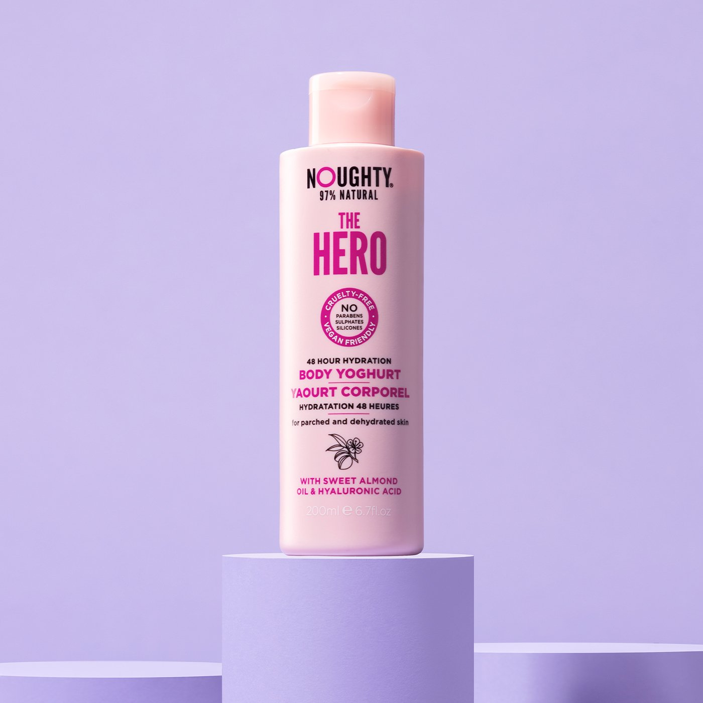 Noughty The Hero 48 hour hydrating body yoghurt for parched and dehydrated skin. Natural body care vegan cruelty free natural sulfate free paraben free