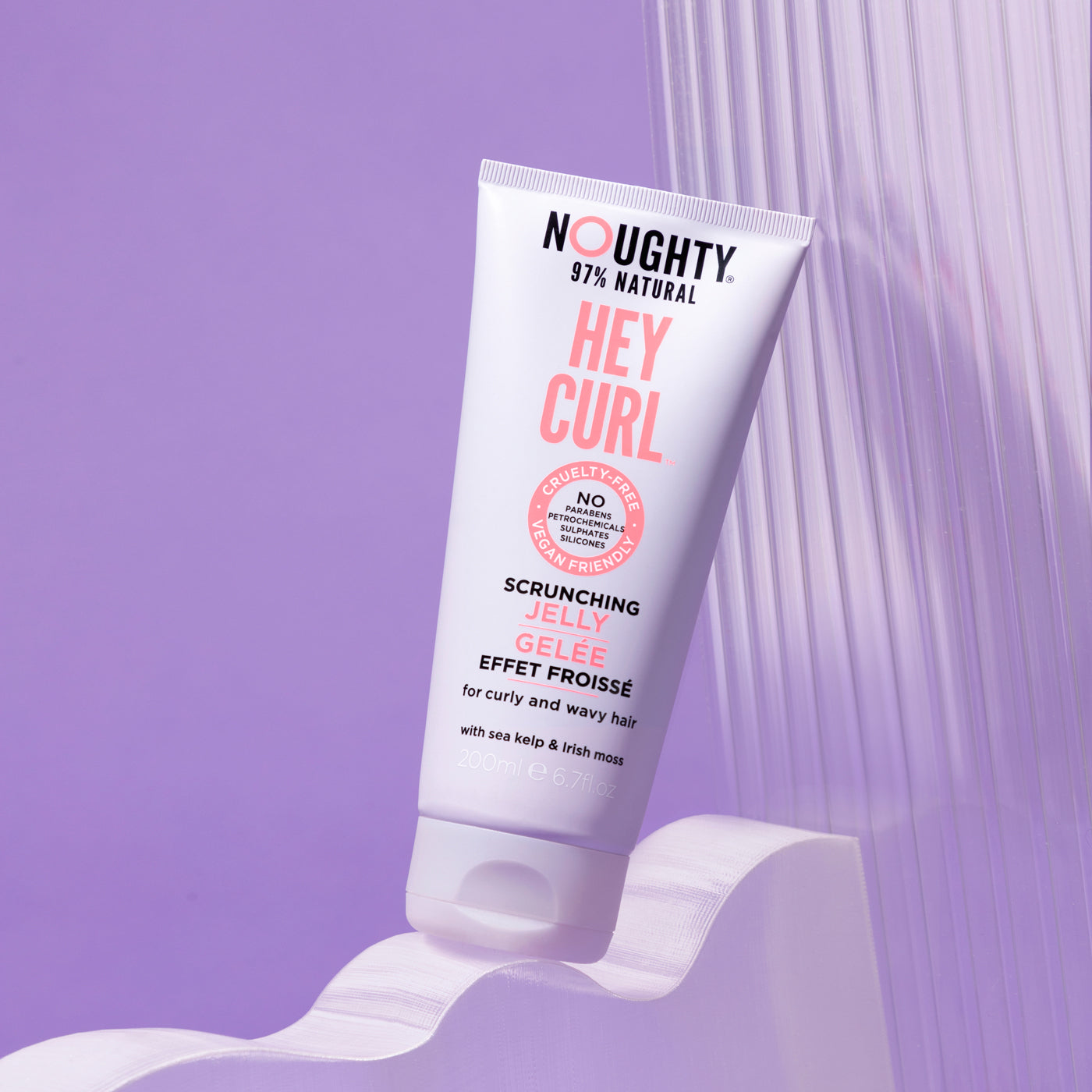 Noughty curl defining scrunching hair gel jelly for curly, wavy hair needing definition and hold. Natural haircare vegan cruelty free natural sulphate free paraben free