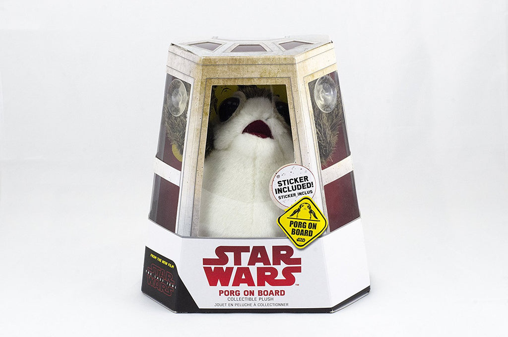 The Last Jedi Porg on Board Figure Suction Cup Plush - White and Brown