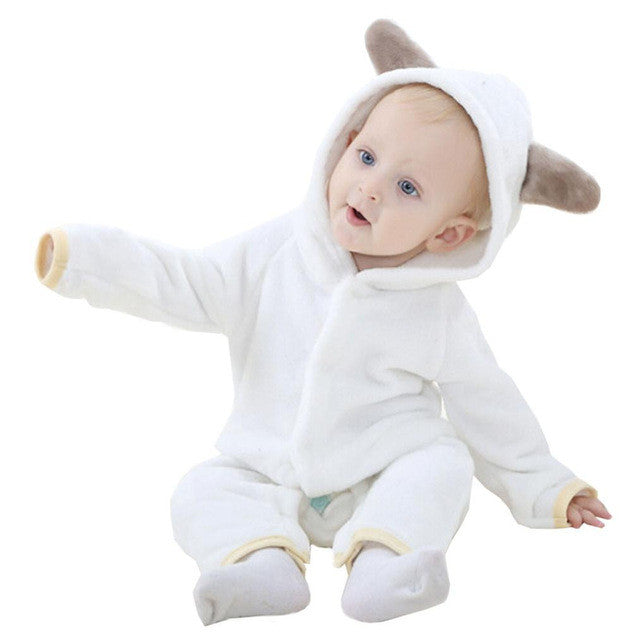 Newborn baby rompers Autumn Winter Flannel Baby Boy Clothes Cartoon Animal Rompers shaped Jumpsuit Baby Girl Rompers Baby Clothe