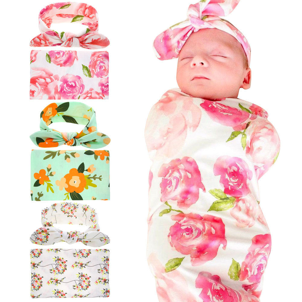 Adorable Newborn Infant Baby Swaddle Blanket Baby Sleeping Swaddle Muslin Wrap Headband Floral Baby Blankets 3Color
