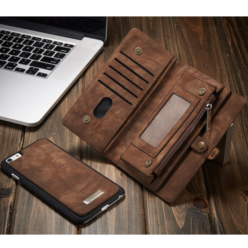 2 in 1 Multi Functional Genuine Leather Wallet Phone Case - for iPhone 6 - 8 and iPhone X