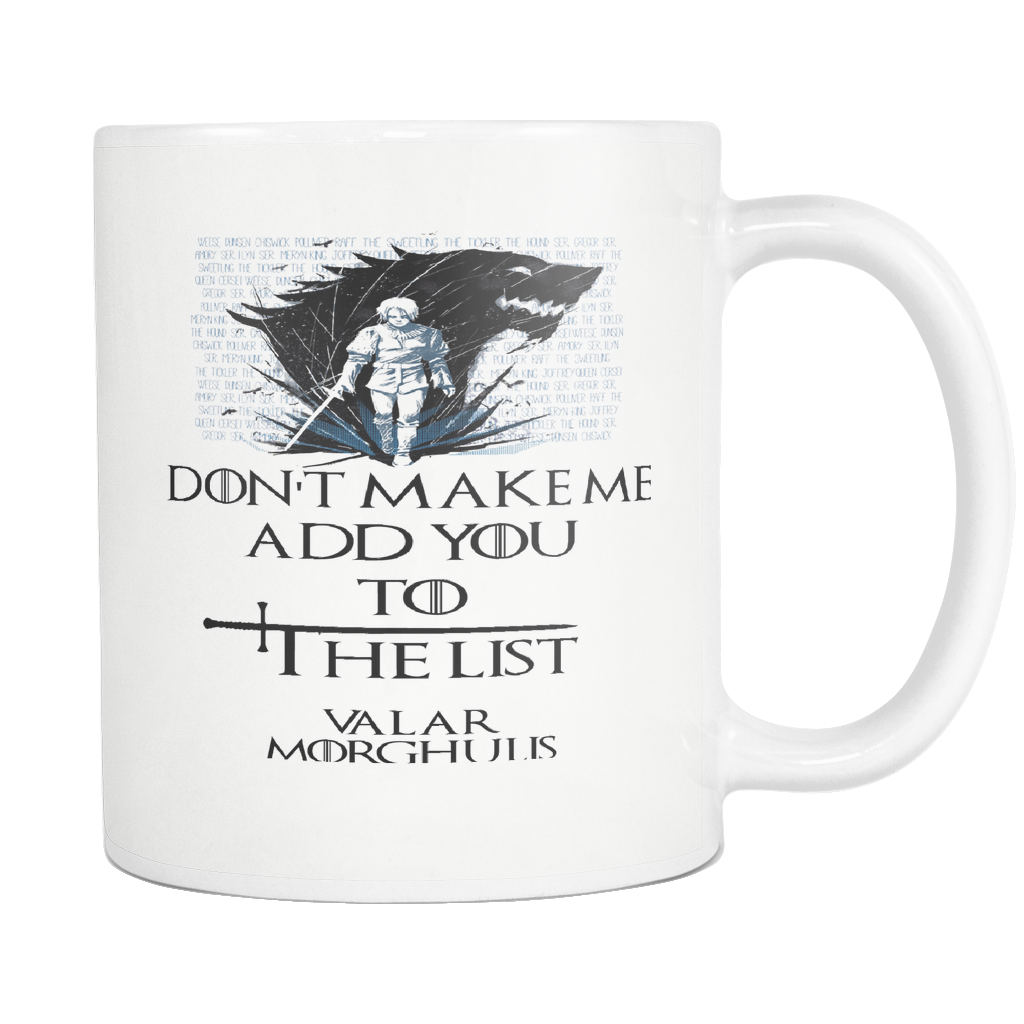 Game Of Thrones Mug, VALAR MORGHULIS, Arya Stark, House Stark mug, Got Mug, Hold The Door, Game Of Thrones Gift, Game Of Thrones Cup
