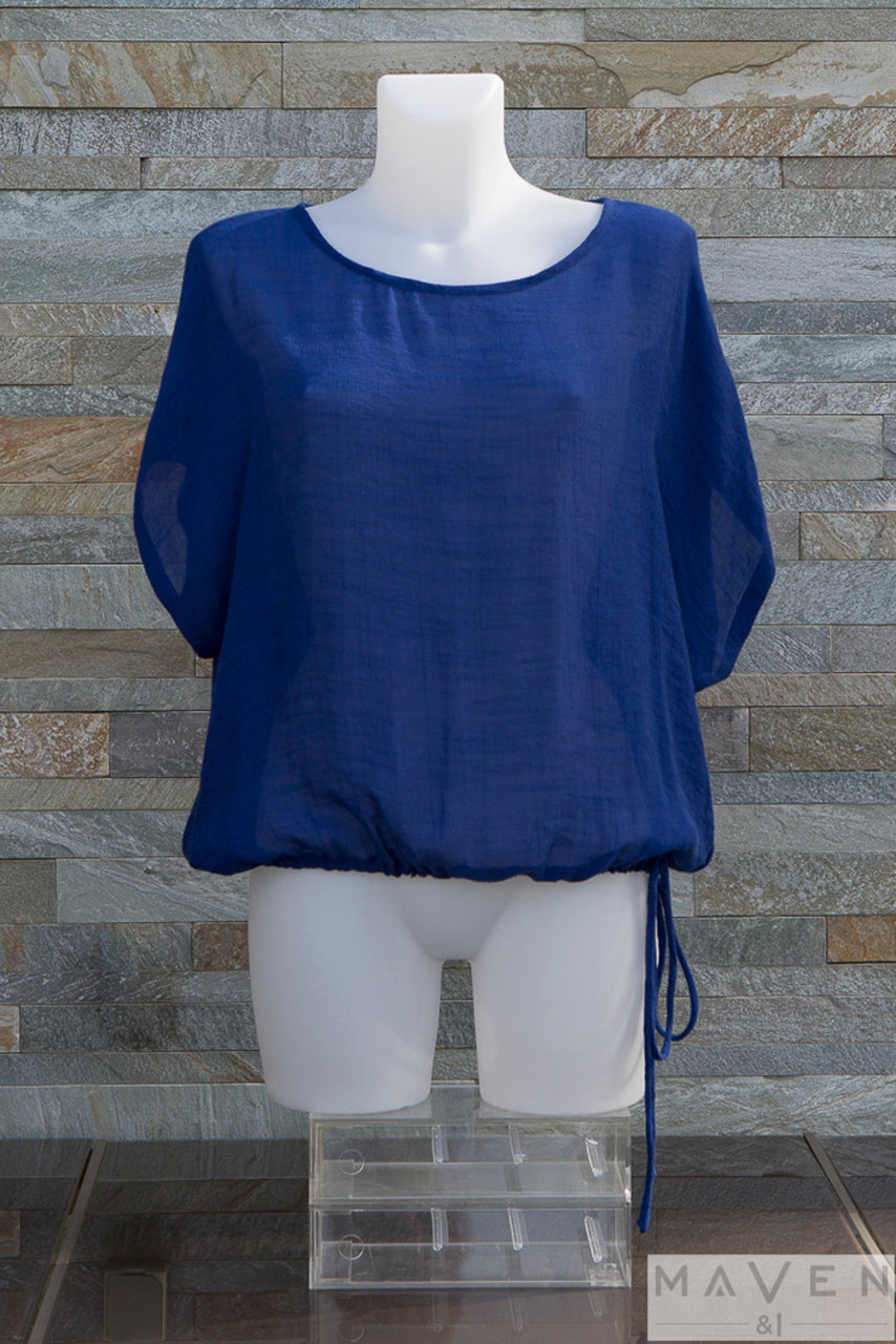 Royal Blue Bamboo Drawstring Top