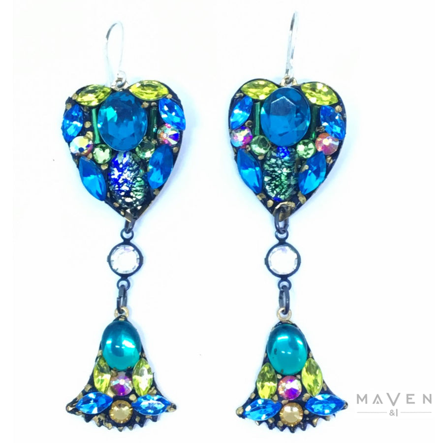Heart Long Vintage Stone Drop Earrings Blue, Citrine and Green
