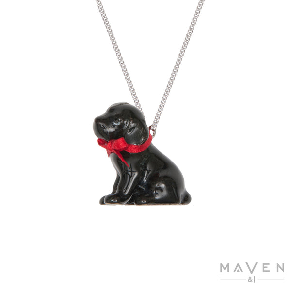Black Labrador Puppy Porcelain Charm Necklace