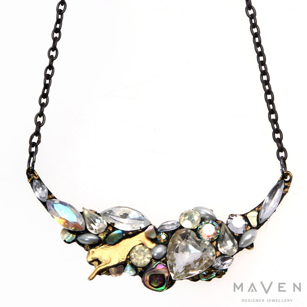 Large Crystal Bower Vintage Stone Necklace