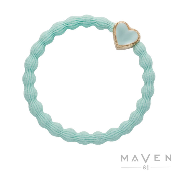 Enamel Gold Heart | Mint Bangle Band