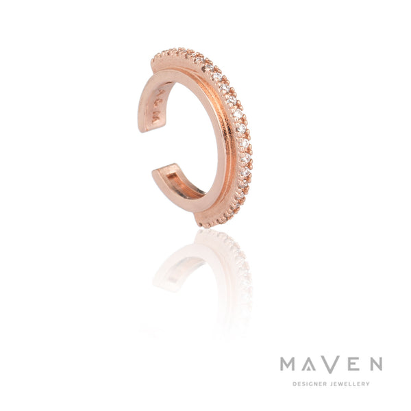 Fitzgerald Circle Ear Cuff In Rose Gold