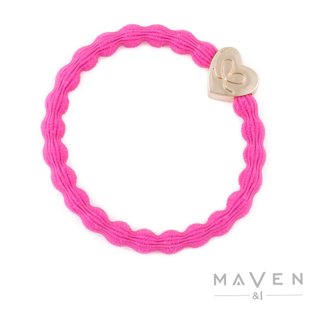 Gold Heart | Fuschia Bangle Band