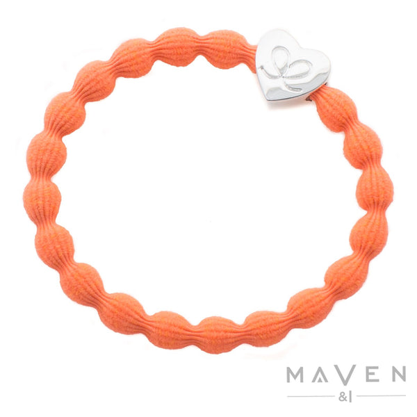 Silver Heart | Neon Orange Bangle Band