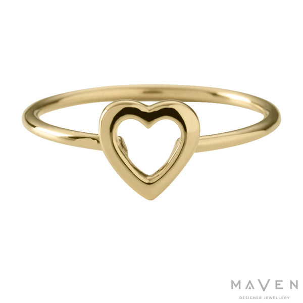 Heart Outline Ring 18k Yellow Gold Vermeil – MAVEN & I