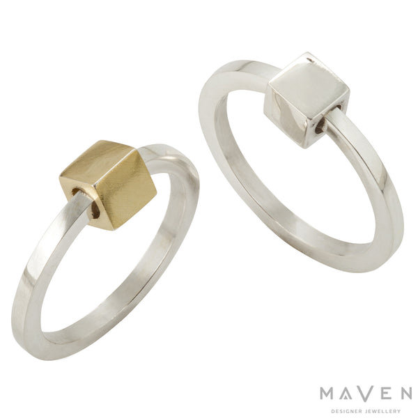 Revolving Cube Ring In Silver and 18k Gold Vermeil