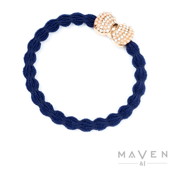 Rose Gold Diamante Bow | Navy Bangle Band