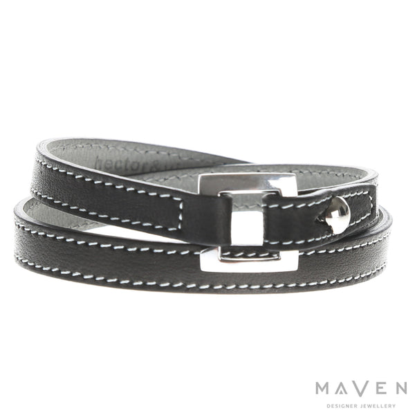Black and White Square Designer Leather Bracelet
