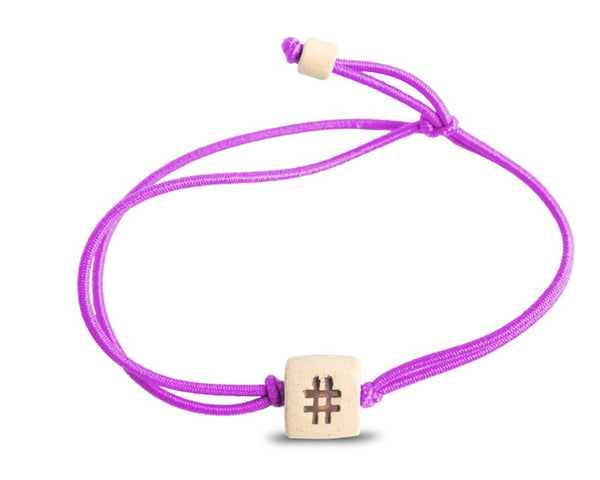 web band bead hashtag product purple