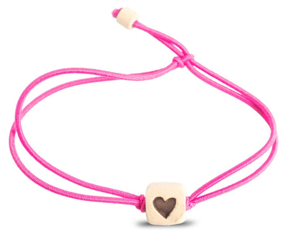 web band bead heart product pink