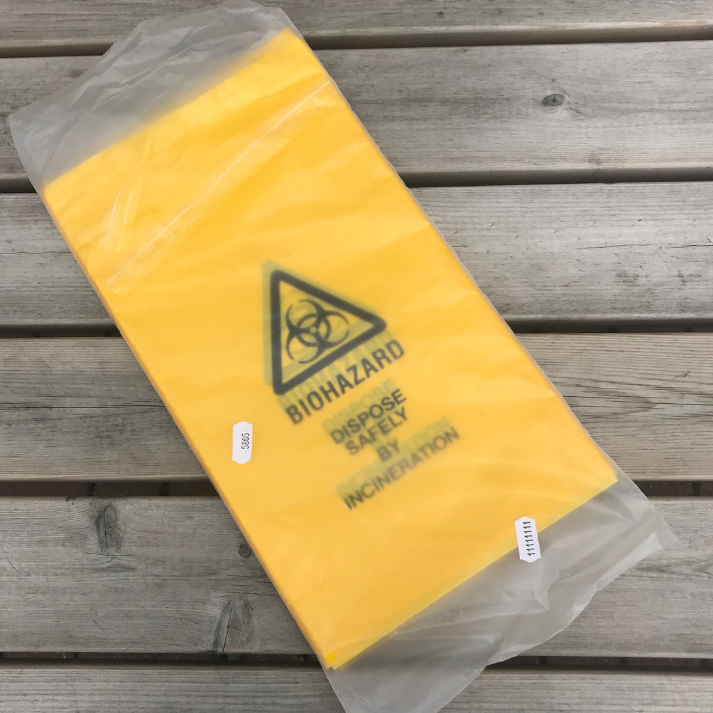 Biohazard/Clinical Waste Bag Self Seal 203mm x 354mm PK 100