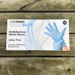 XL Blue Nitrile Disposable Gloves Powder Free - Box 100