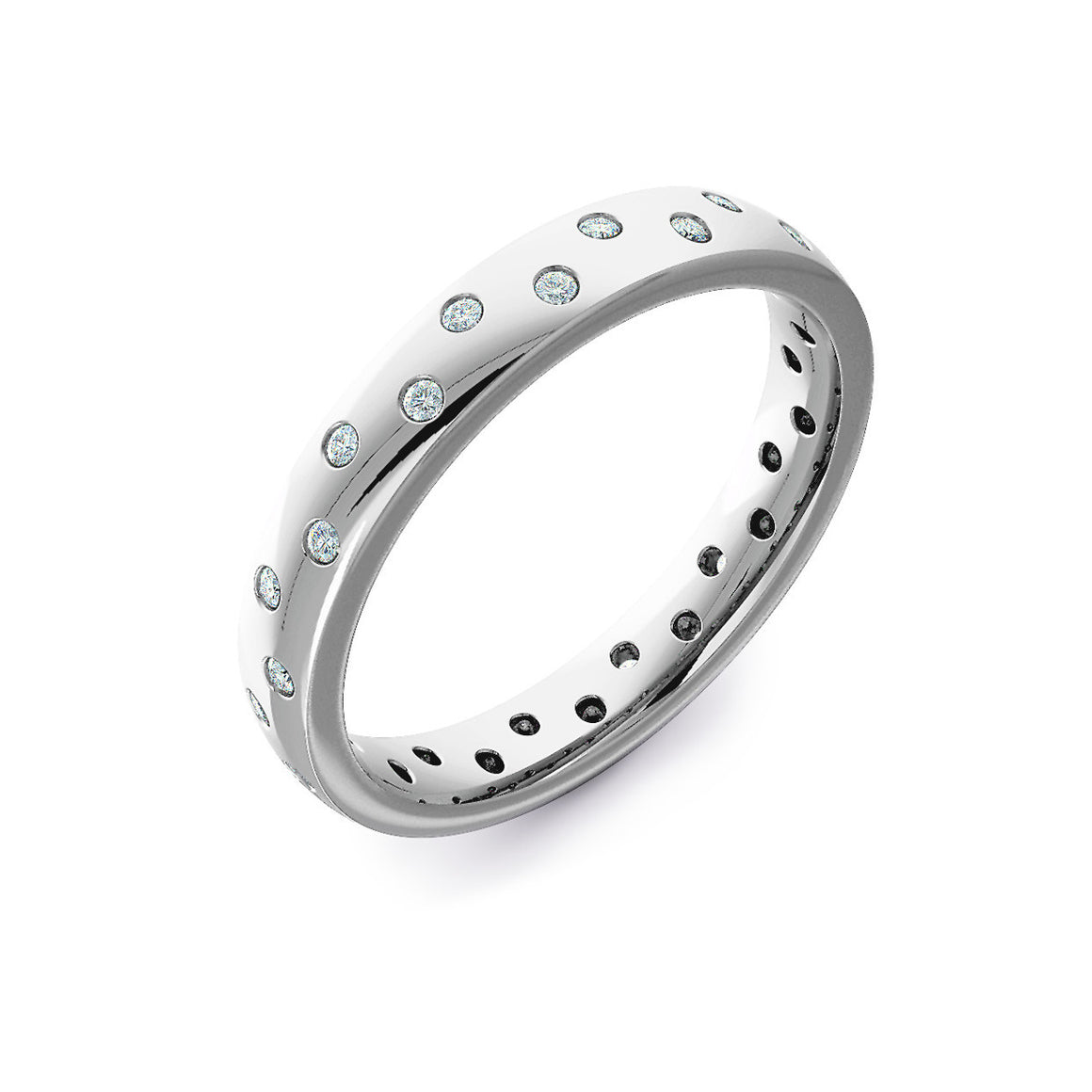 Biased Set Diamond Wedding Ring