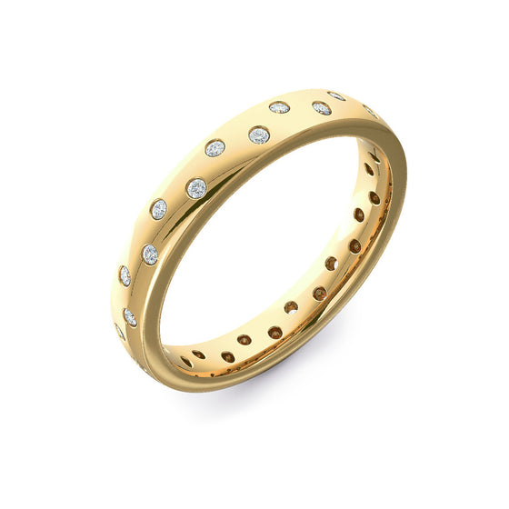Biased Set Diamond Yellow Gold Wedding Ring