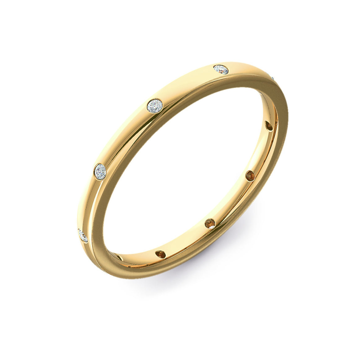 Ten Diamond Yellow Gold Court Wedding Ring