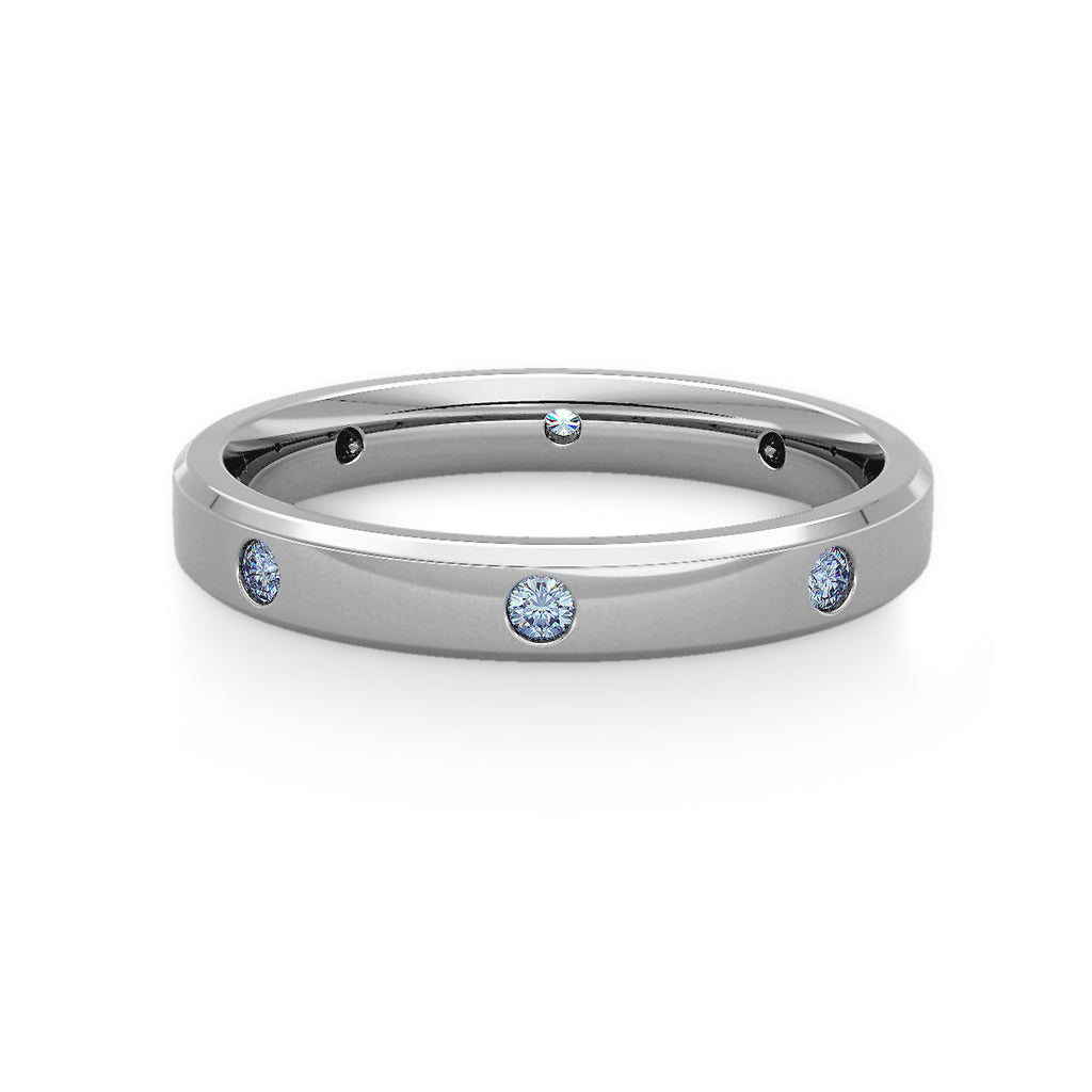 Diamond Set Bevelled Edge Wedding Ring