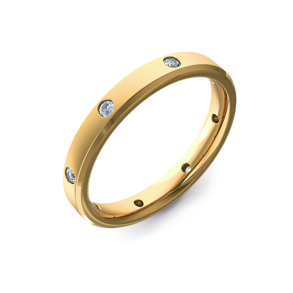Diamond Set Bevelled Edge Yellow Gold Wedding Ring
