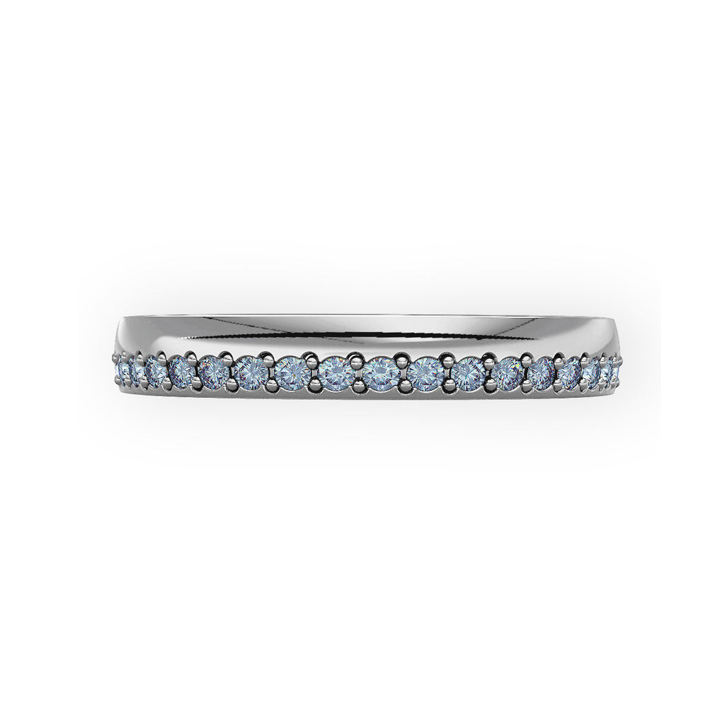 Offset Grain Set Diamond Wedding Ring