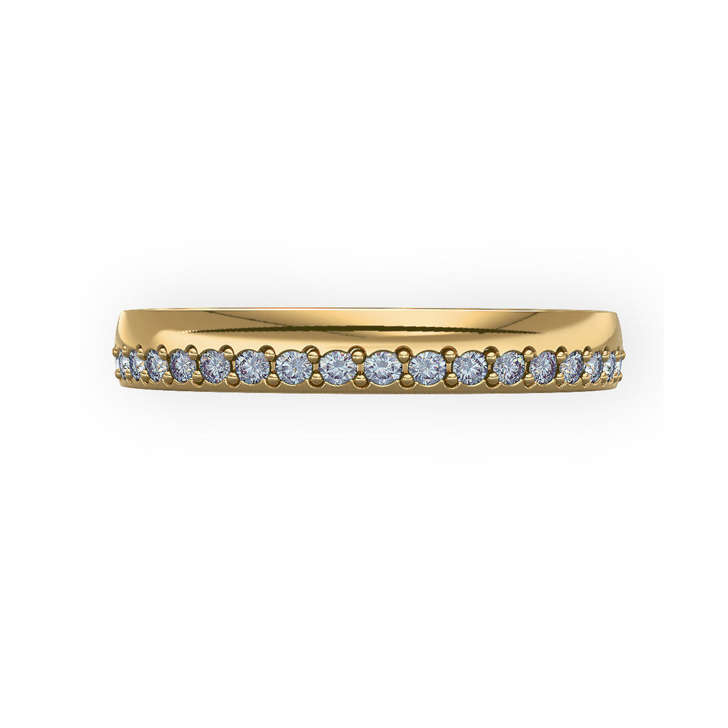 Offset Grain Set Diamond Yellow Gold Wedding Ring