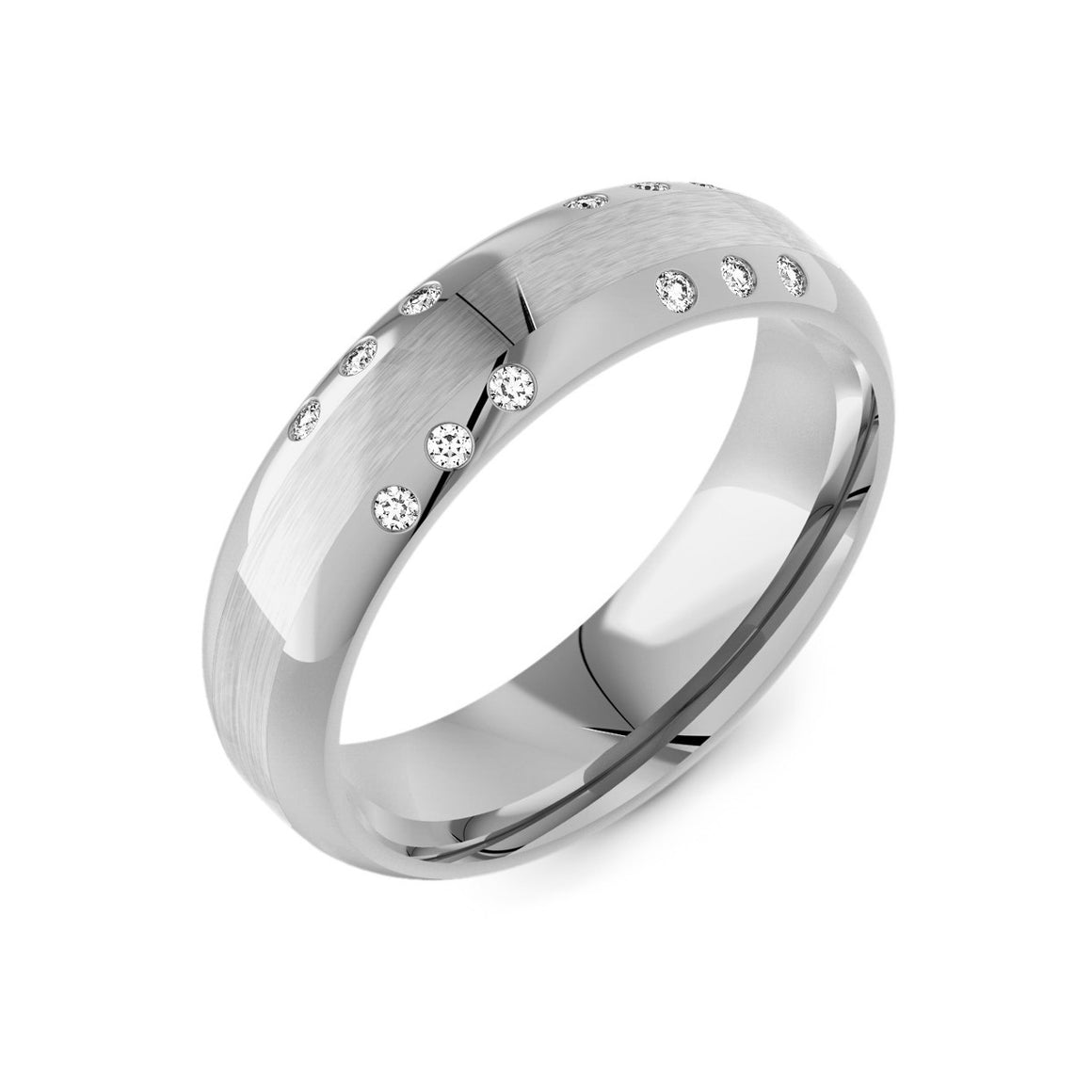 Flattened Court & Diamond Mens Ring