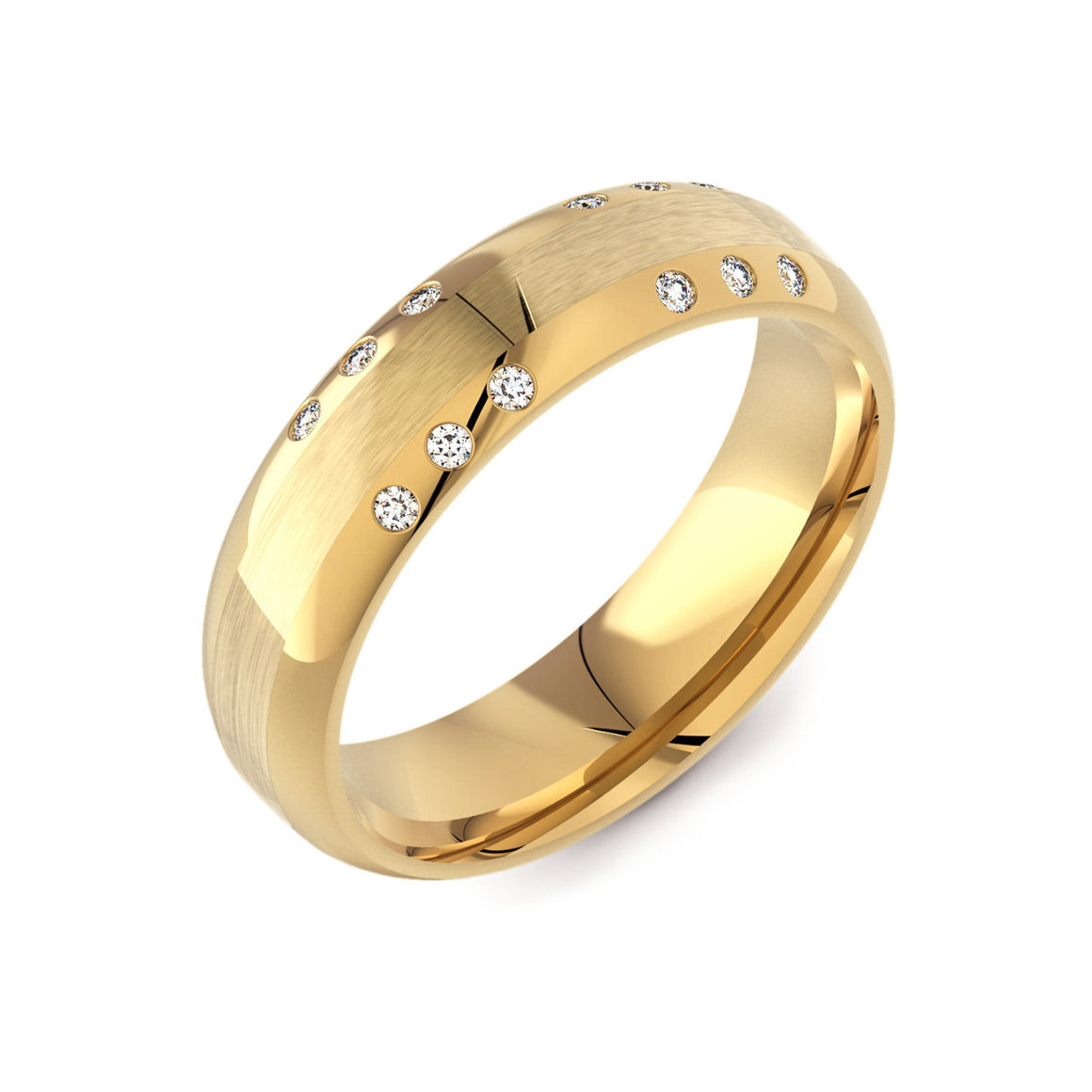 Flattened Court & Diamond 18ct Yellow Gold Mens Ring