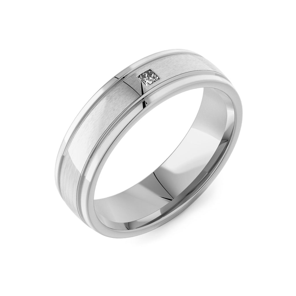 Machined Modern Court & Princess Diamond Men's Ring