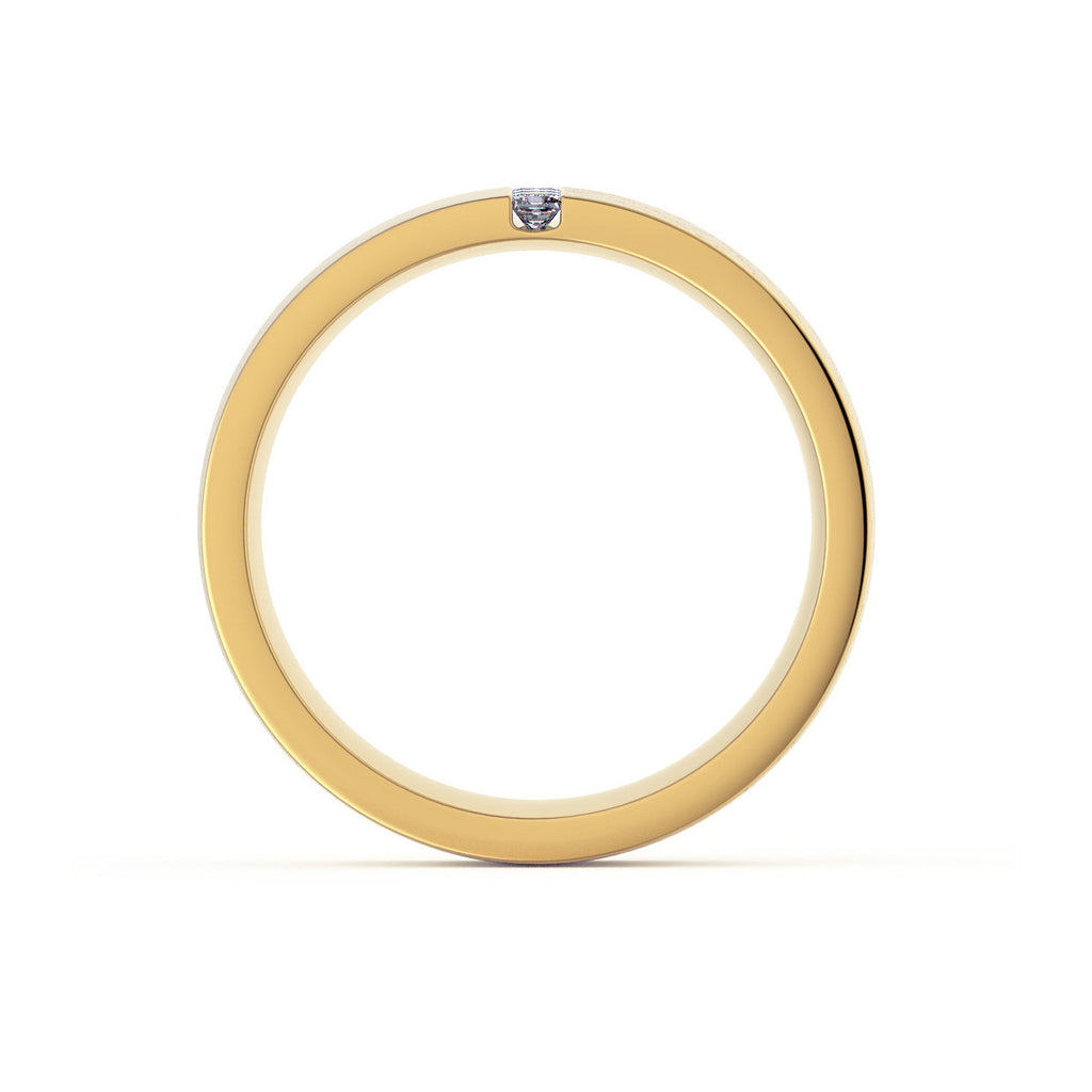 Flat Court with 3 Princess Diamonds 18ct Yellow Gold Men's Ring