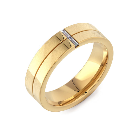 Flat Court with 2 Baguette Diamonds 18ct Yellow Gold Mens Ring