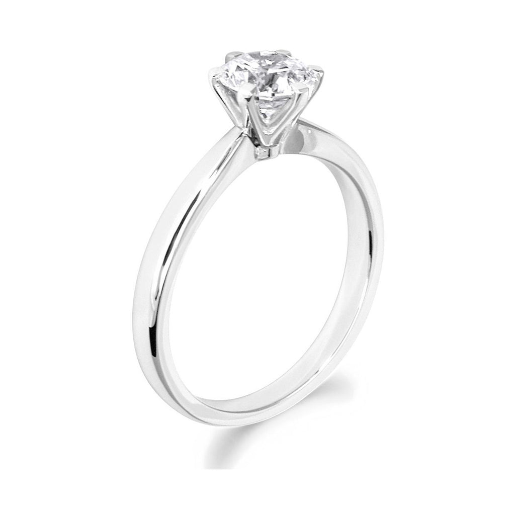 6 Claw Classic Brilliant Cut 18ct White Gold Solitiare
