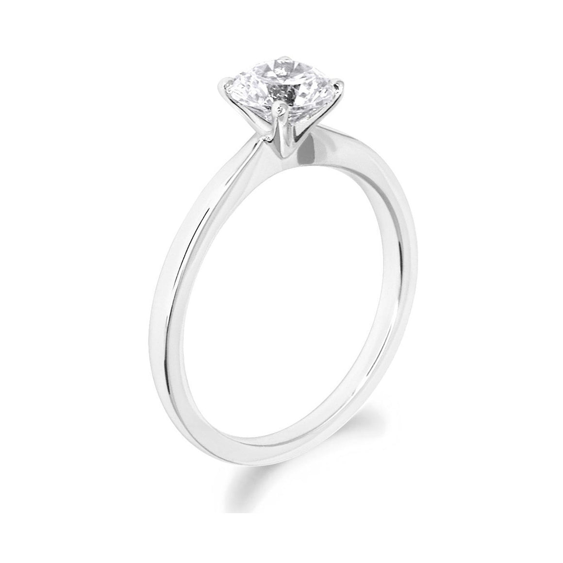 4 Claw Dainty Brilliant Cut 18ct White Gold Solitaire