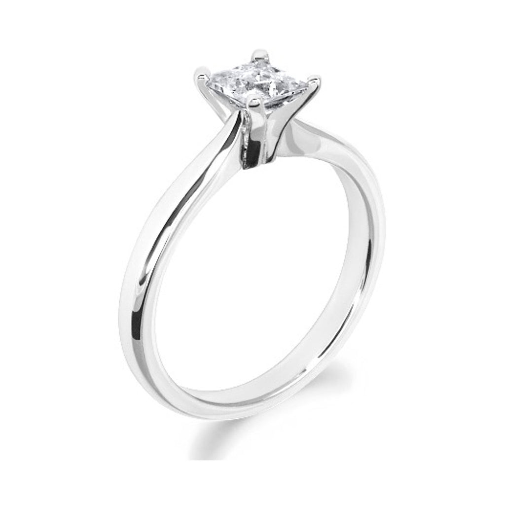 4 Claw Tulip Inspired Princess Cut Platinum Solitaire