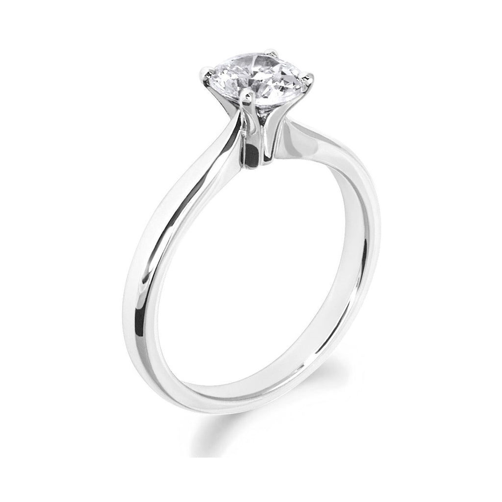 4 Claw Tulip Inspired Brilliant Cut 18ct White Gold Solitaire