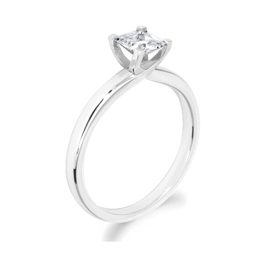 4 Claw Crossover Style Princess Cut 18ct White Gold Solitaire
