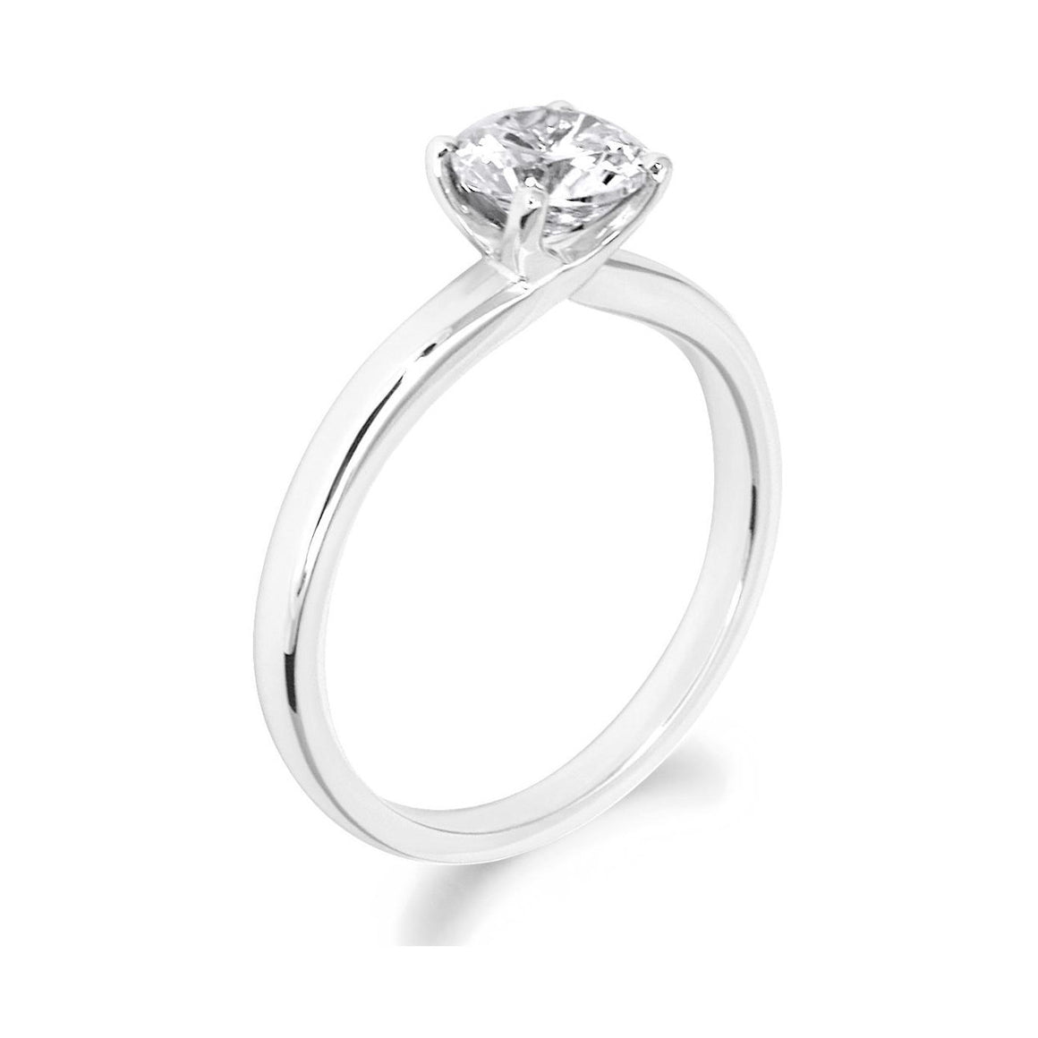 4 Claw Crossover Style Brilliant Cut 18ct White Gold Solitaire