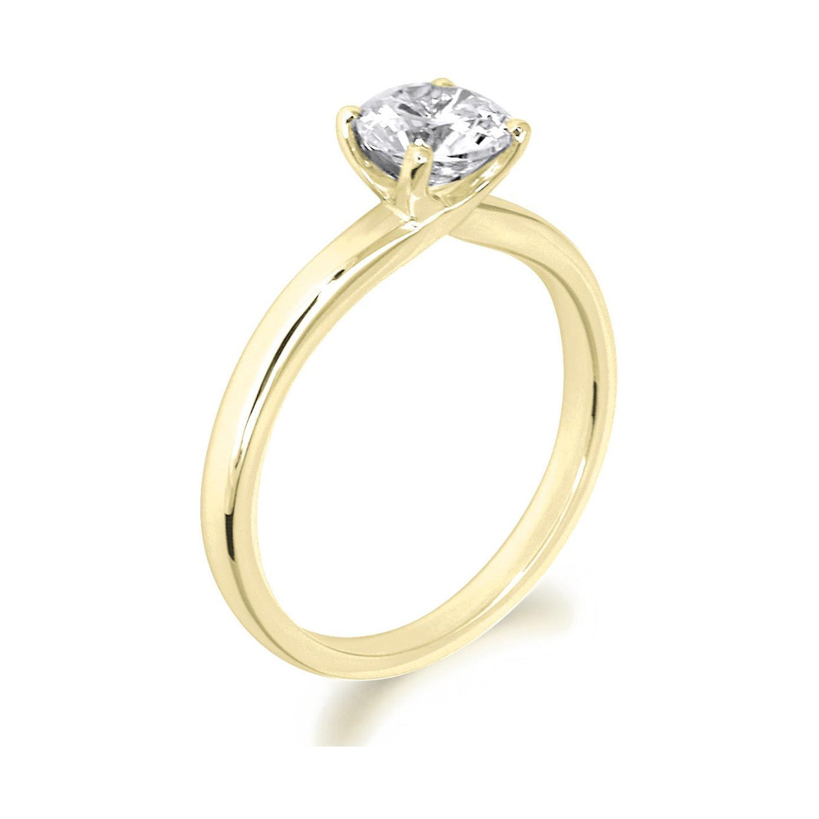 4 Claw Crossover Style Brilliant Cut 18ct Yellow Gold Solitaire