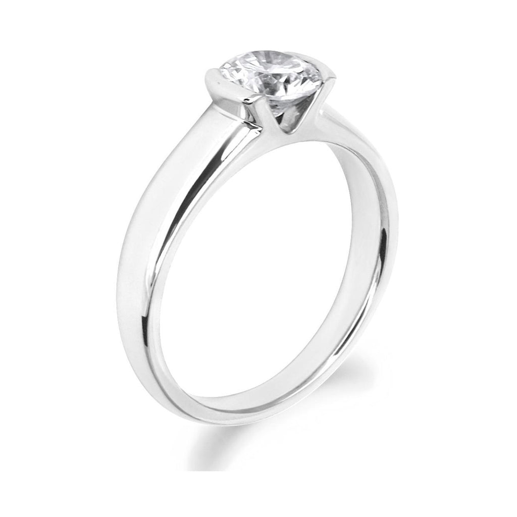 Semi Rub Over Brilliant Cut 18ct White Gold Solitaire