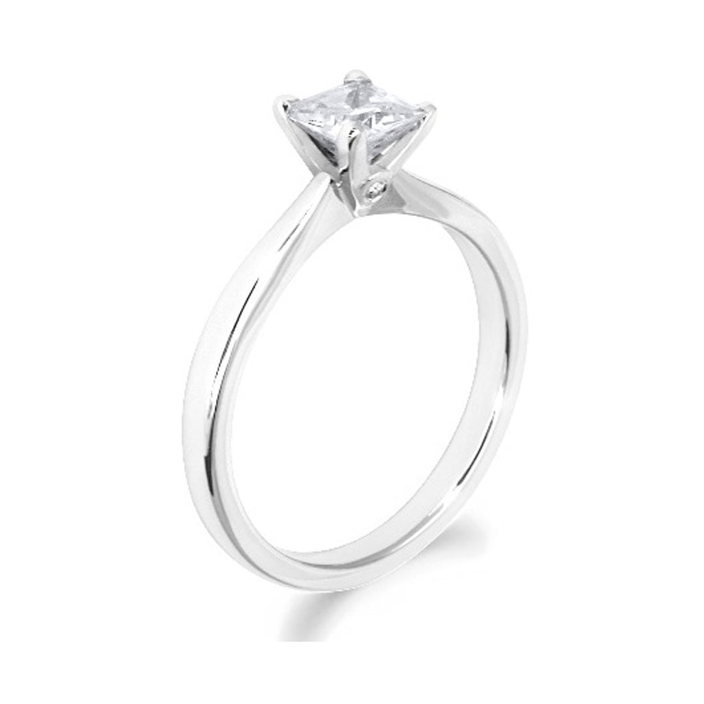 4 Claw with Side Diamonds Princess Cut 18ct White Gold Solitaire