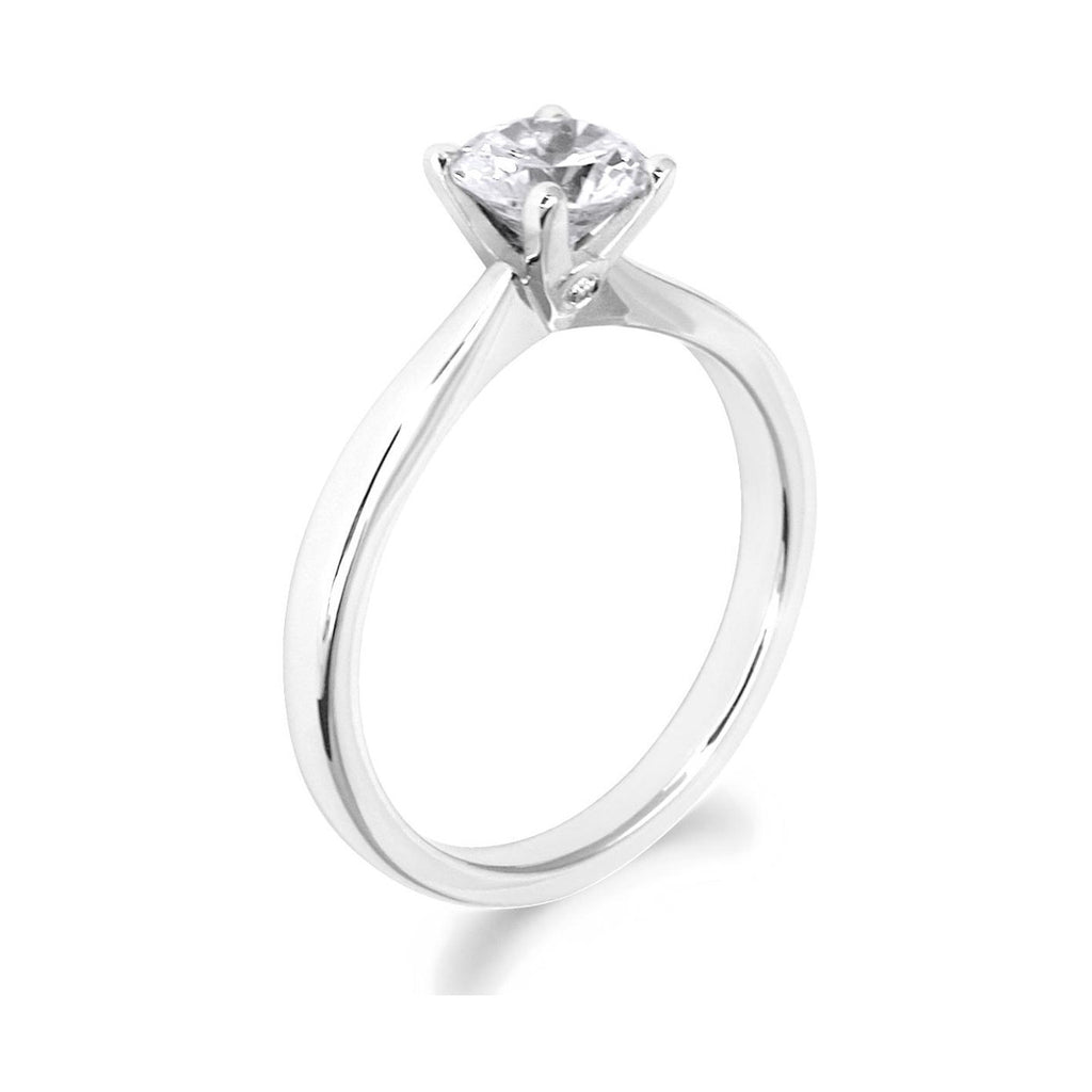 4 Claw with Side Diamonds Brilliant Cut 18ct White Gold Solitaire