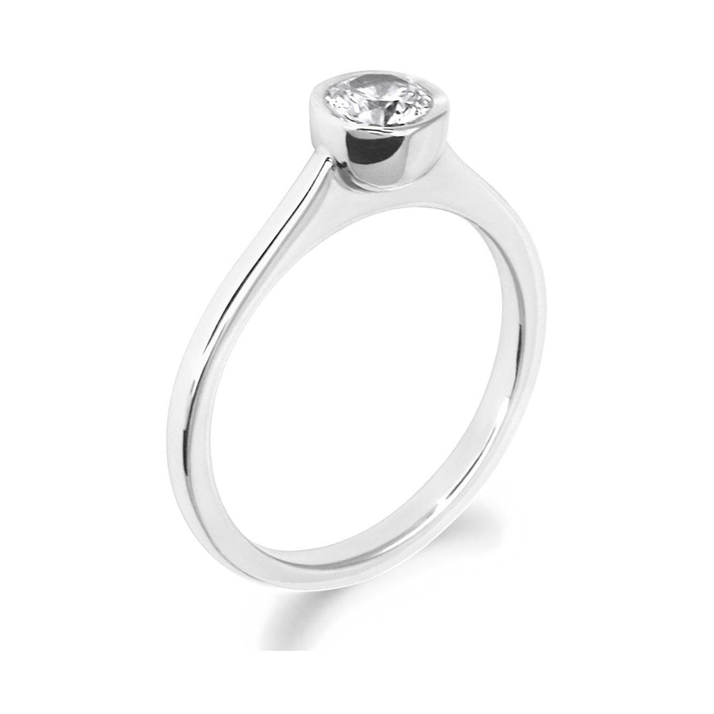 Rubover Brilliant Cut 18ct White Gold Solitaire